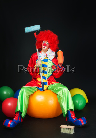clown as a house painter