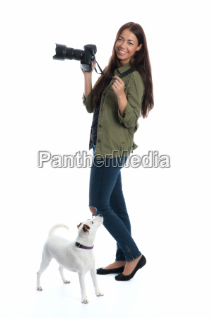 photographer with dog