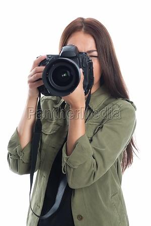woman photo camera photograph reflex camera