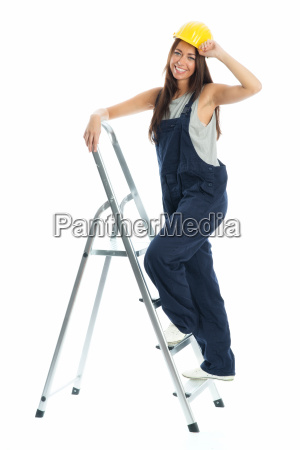 female artisans on stepladder
