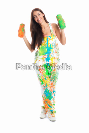 female house painter with paint tubes