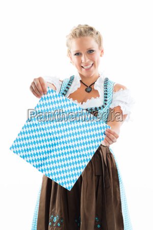 bavarian girl holding a napkin as