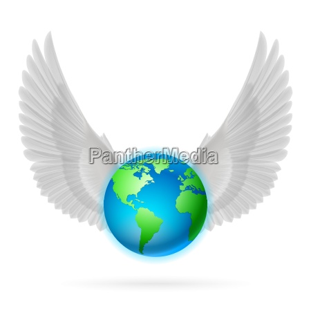 globe with white wings on white