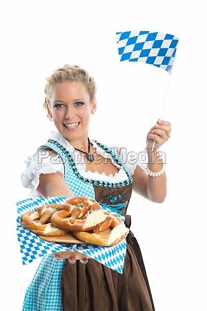 bayrisches, mädchen, mit, brezn, - 11823441