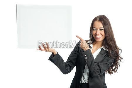 geschäftsfrau, hält, werbeplakat - 11823035