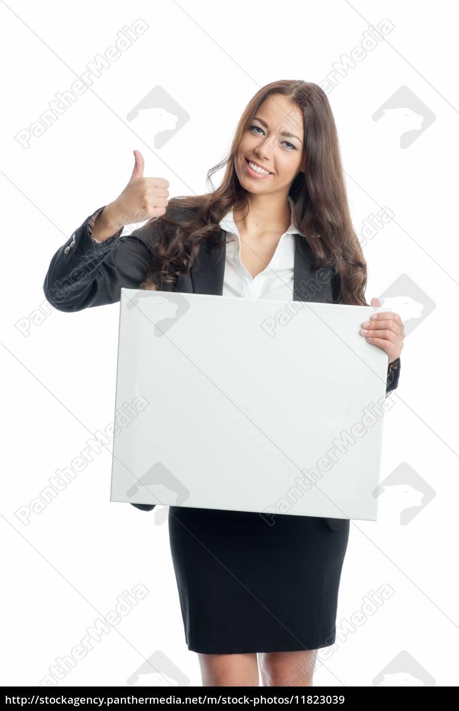 geschäftsfrau, hält, werbeplakat - 11823039