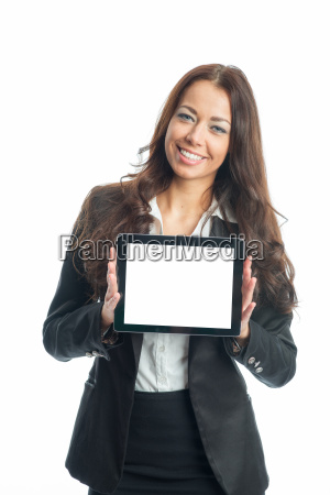 geschäftsfrau, mit, tablet - 11823163