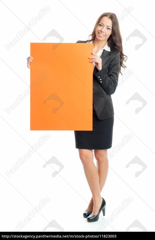 junge, geschäftsfrau, hält, ein, werbeschild - 11823003