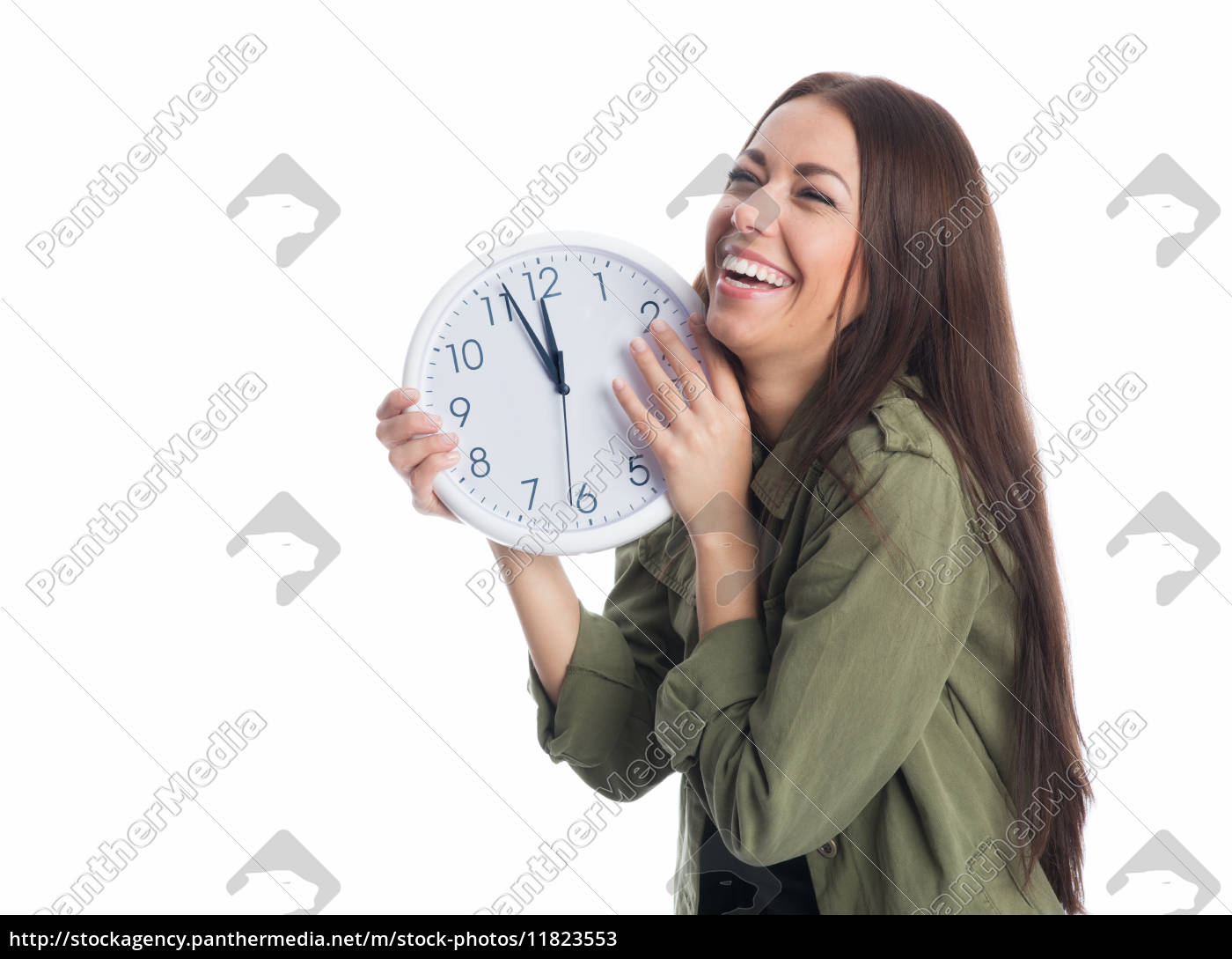lachende, frau, mit, wanduhr - 11823553
