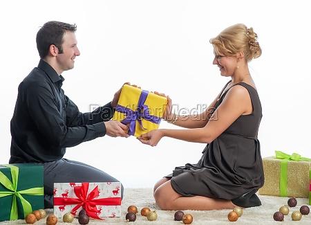 amorous couple at christmas