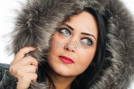 racy woman with fur collar