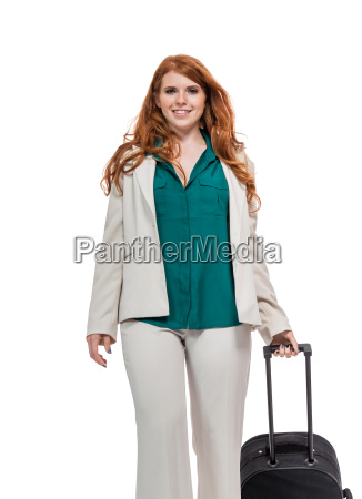 young attractive businesswoman with red hair