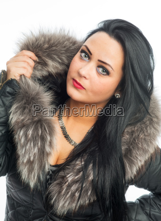 rude woman with fur collar