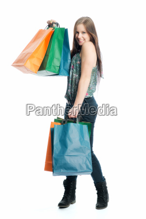 young girl in buying noise