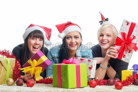 3 christmas girl with gifts