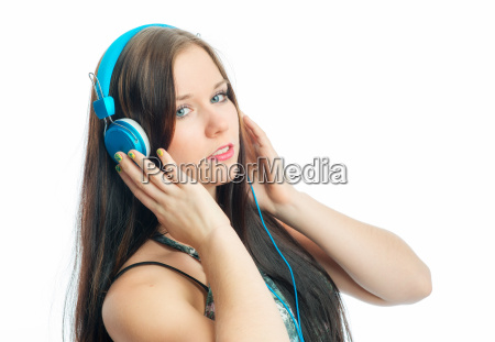 woman dreamy face portrait sensual earphones