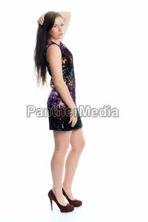 brunette girl in mini dress