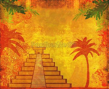 maya pyramide chichen itza mexiko grunge