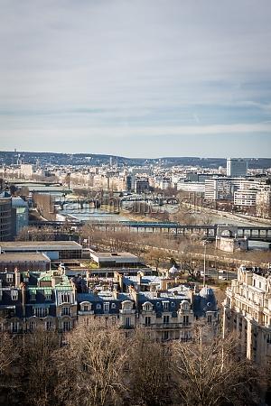 paris skyline with cityscape at saine