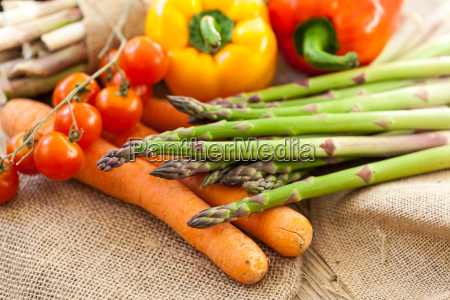 fresh vegetables with tomatoes peppers and