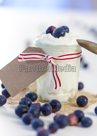glas mit joghurt un frischen blaubeeren