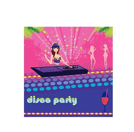 beautiful dj girl and girls dancing