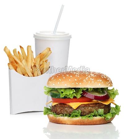 hamburger mit franzoesisch frites und cola
