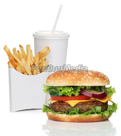 hamburger, mit, französisch, frites, und, cola - 11835469