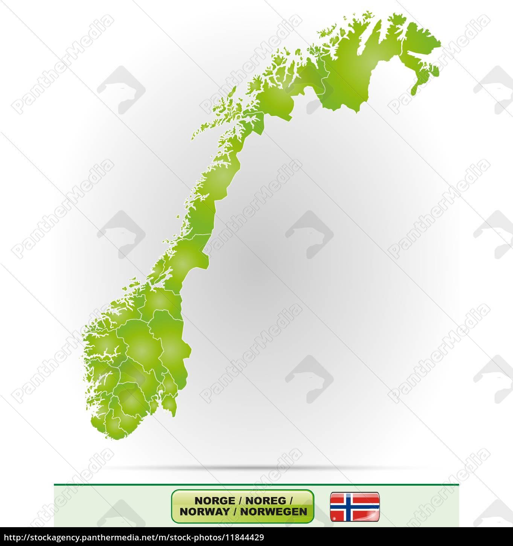 Karte Norwegen.Lizenzfreie Vektorgrafik 11844429 Karte Von Norwegen