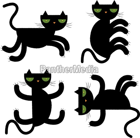 schwarze katze vektor illustration