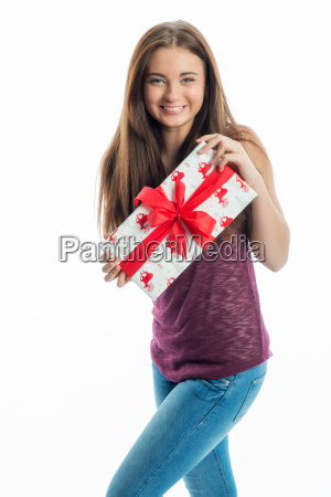 teenager with gift
