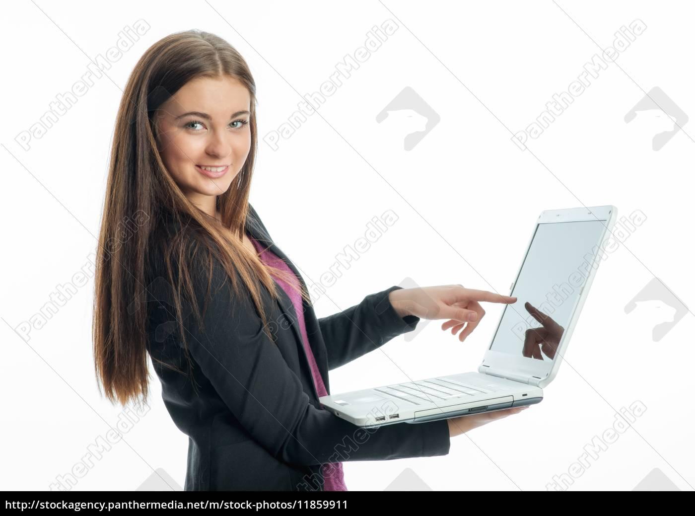 junges, mädchen, mit, laptop - 11859911