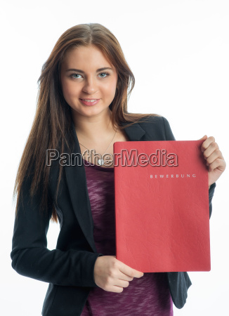 young girl with bewerbungsmappe