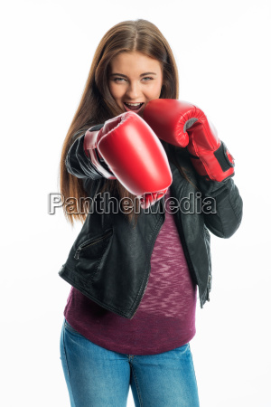 young girl with boxing gloves