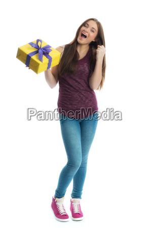 young girl with gift