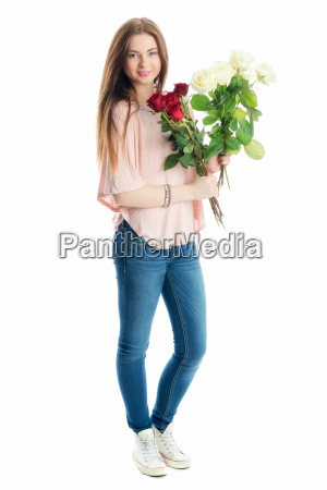 young girl holding a bouquet