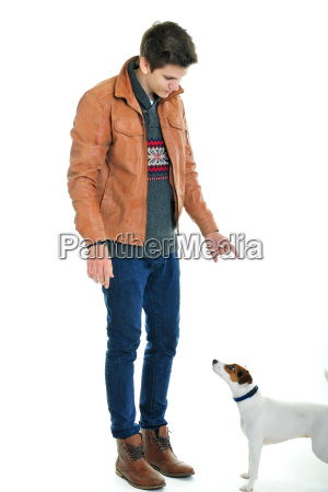 young man with terrier
