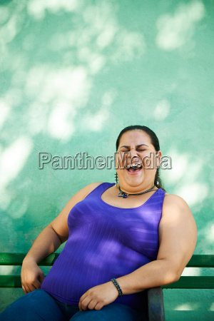 portrait of fat woman looking at
