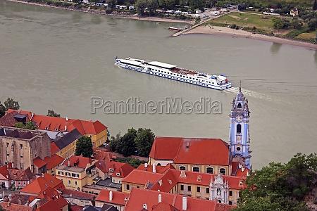 danube cruise ship in duernstein in