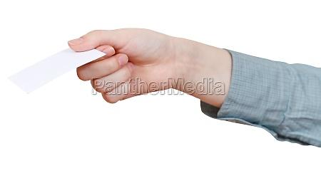 leere visitenkarte in der hand der