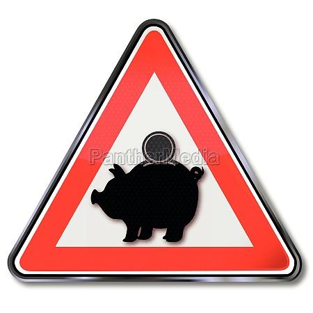 sign caution sparschweinchen und geldanlage