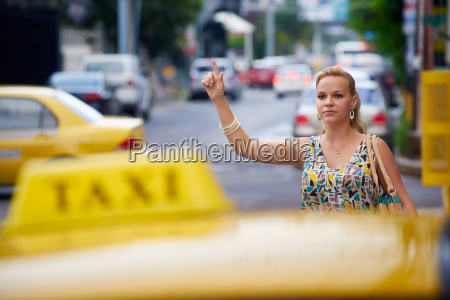 people travelling business woman stopping yellow