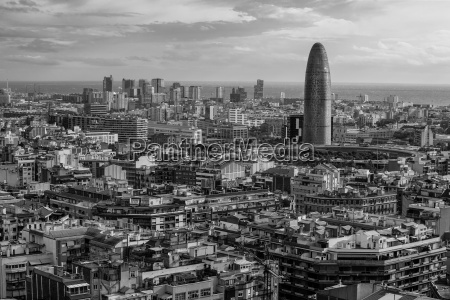 cityscape of barcelona black and white