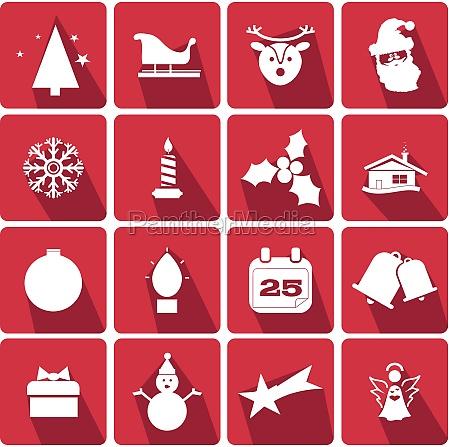 set von weihnachts icons mit dem