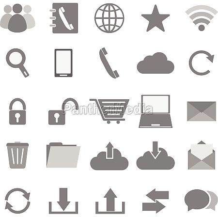 kommunikation symbole auf weissem hintergrund