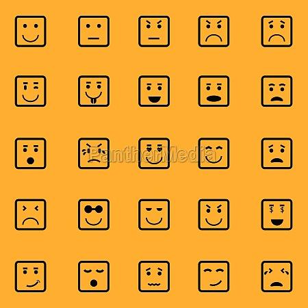quadratische gesichtssymbole auf orangefarbenem hintergrund