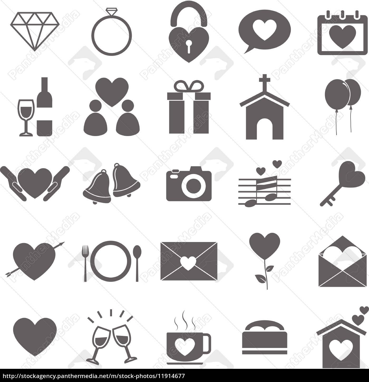 Hochzeit Symbole Auf Weissem Hintergrund Stockfoto 11914677