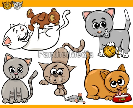glueckliche katzen cartoon illustration set
