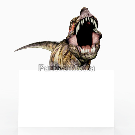 dinosaur tyrannosaurus rex and advertising sign