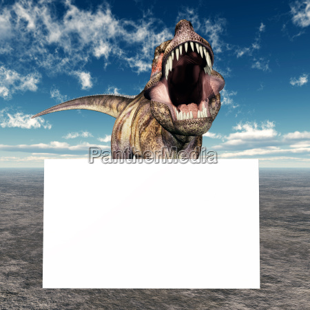 tyrannosaurus rex with advertising sign